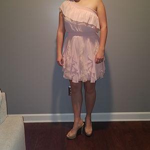 Jessica Simpson blush pink one shoulder dress